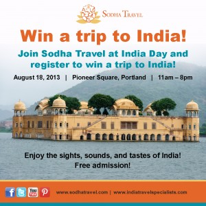 Enter to win a trip to India from Sodha Travel at India Day!