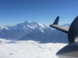 Viewing Mt. Everest from my flight on Buddha Air