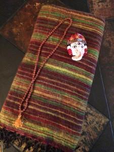 Yak wool shawl, hand-painted Ganesha and prayer beads
