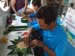 Making the Krathong for the Loi Krathong Ceremony