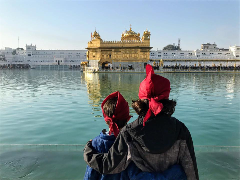 My sons, 8 and 5, at the Golden Temple in Amritsar
