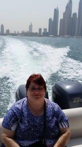Brenda enjoying an excursion in Dubai, UAE