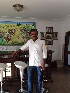 Dalpat Singh Rathore, the owner of Talabgaon Castle, in the Polo Bar