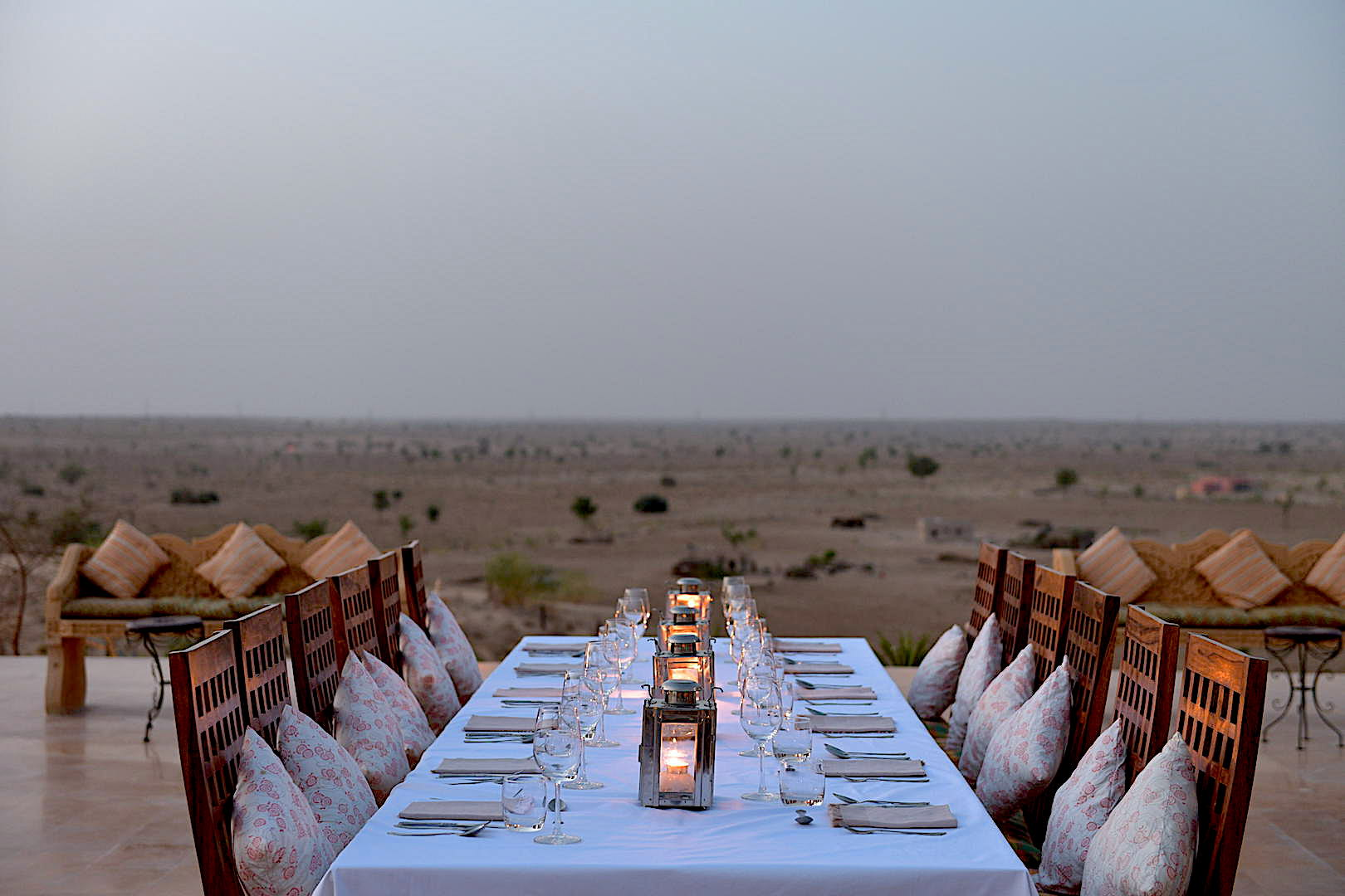 Dining at Dera Dune Retreat in Rajasthan, India