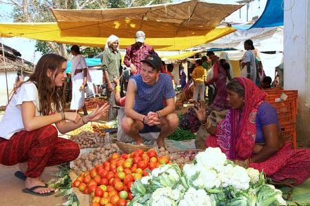 A traditional village market near Kanha National Park