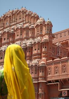 Legends of India, a small group tour. View the Hawa Mahal (Palace of the Winds) in Jaipur.