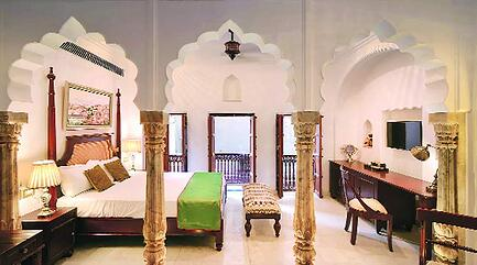 Beautifully restored guest room at Haveli Dharampura in Chandni Chowk