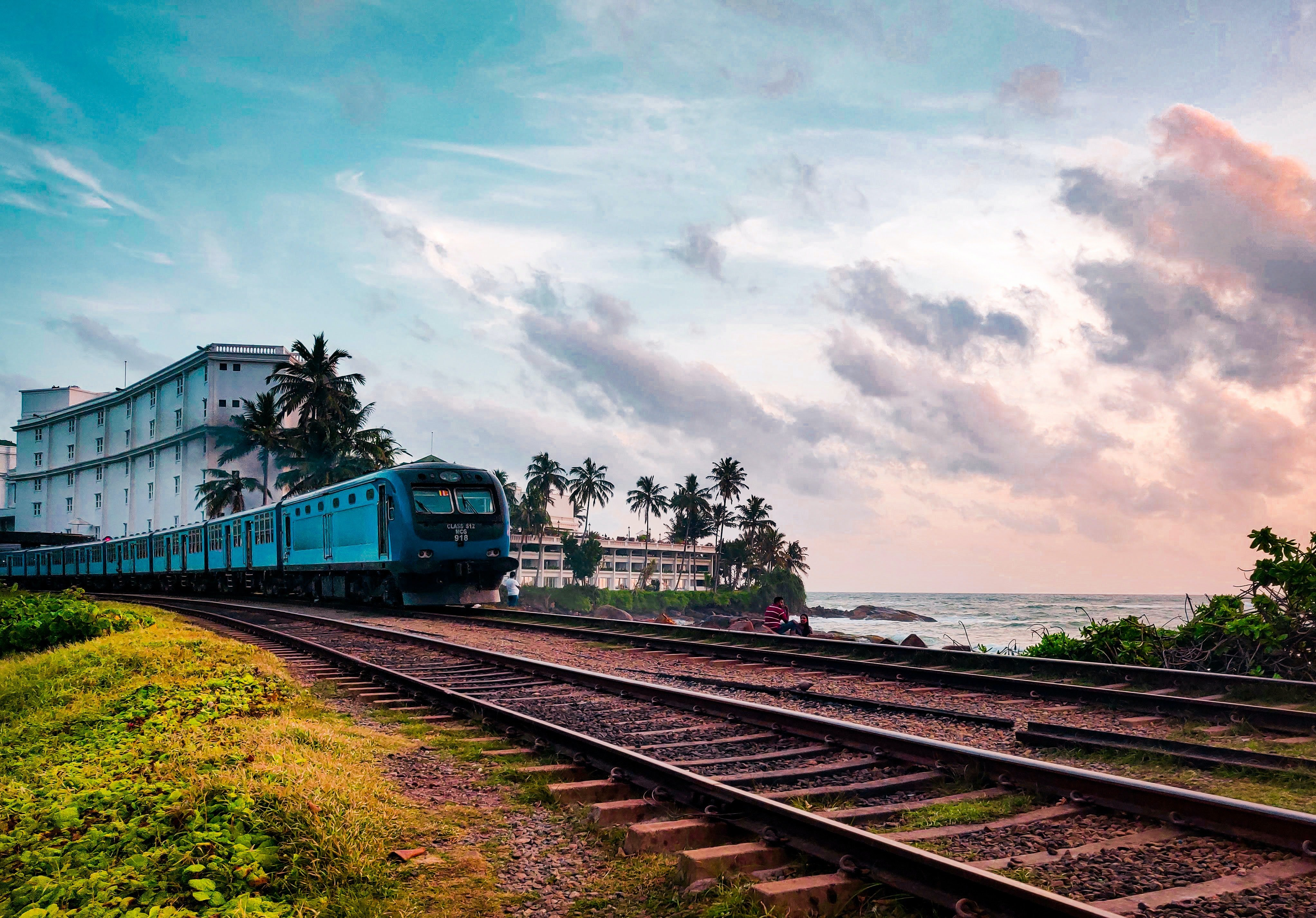 Traveling by train in Sri Lanka is a beautiful way to view the coastlines and countryside
