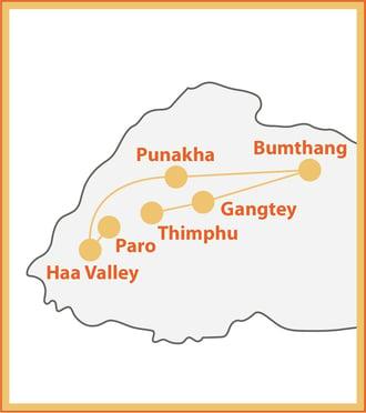 Trails of Bhutan Map