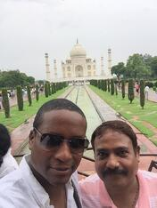 W and his guide at the Taj Mahal in Agra, India