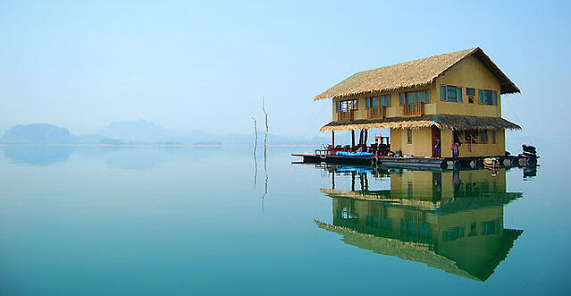 A floating home on Lake Khao Laem in Thailand